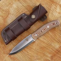 TBS Boar Bushcraft Survival Knife - N695 Stainless Steel & Natural Micarta